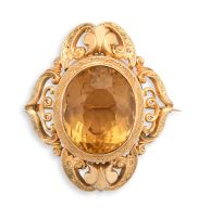 Victorian citrine and gold brooch/pendant