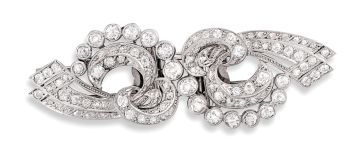 Diamond double-clip brooch, 1950s