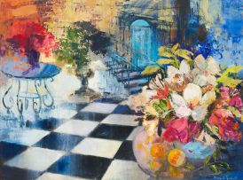Margaret Gradwell; Interior with Vase of Flowers