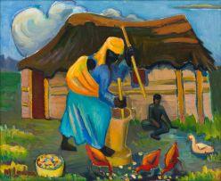 Maggie Laubser; Woman Stamping Mealies