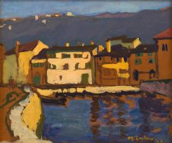 Maggie Laubser; Fishing Harbour, Belgium, recto; Sunset, verso