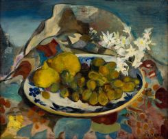 Maud Sumner; Still Life with Blossoms and Fruit