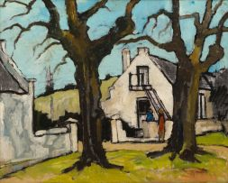 David Botha; Landscape with House and Two Figures