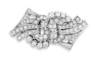 Diamond double-clip brooch, 1950s
