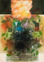 Louis Maqhubela; Abstract with Bird and Leaves