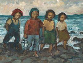 Amos Langdown; Children Fishing