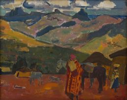 Alfred Krenz; Basotholand View with Figures and Ponies
