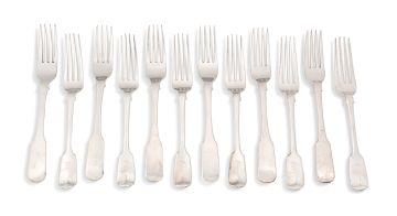 A set of six Cape silver Fiddle pattern dinner forks, William Moore, mid 19th century