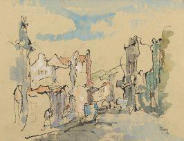 Gregoire Boonzaier; Ou Straatjie met 'n Blou waentjie, Dist. Ses (sic)