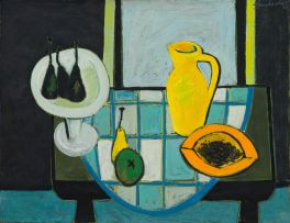 Erik Laubscher; Still Life with Papaya, recto; Still Life with Lemons, verso