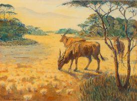 Hans Anton Heinrich Aschenborn; Landscape with Eland