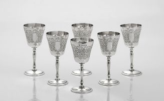 A cased set of six Elizabeth II silver goblets, Charles S Green & Co Ltd, Birmingham, 1975