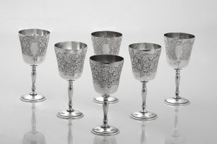 A cased set of six Elizabeth II silver goblets, Charles S Green & Co Ltd, Birmingham, 1973-1976