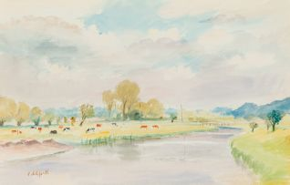 Roland Vivian Pitchforth; Landscape with River and Cattle