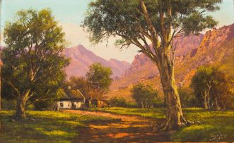 Tinus de Jongh; Landscape with Cottage and Mountains