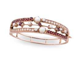 Edwardian diamond, pearl and garnet bangle