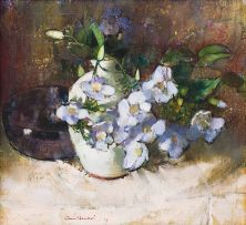 Irmin Henkel; Still Life with Vase of Thunbergia Grandiflora (Blue Sky) Flowers