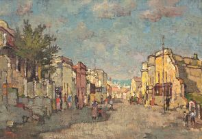 Gregoire Boonzaier; Tafelbaai vanaf Chiappini Straat, Slamsebuurt