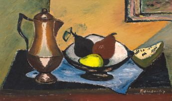 Pranas Domsaitis; Still Life with a Coffee Pot and a Bowl of Fruit