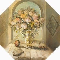 Christo Coetzee; Still Life with Roses