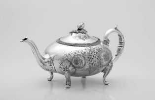 A Sheffield-plate teapot mid-19th Century