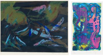 Minnie Fry; Abstract in Pink and Purple; Abstract in Green and Blue