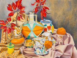 Aleta Michaletos; Still Life with Poinsettias