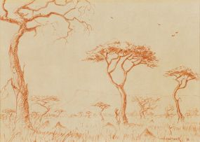 Willem Hermanus Coetzer; Landscape with Trees