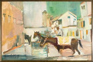 Sidney Goldblatt; Cityscape with Donkeys