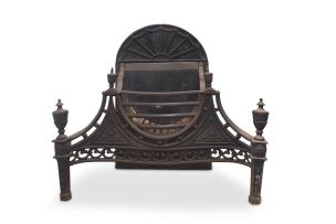 A George III Neo Classical cast iron and steel fire grate, early 19th century