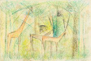 Gordon Vorster; Landscape with Giraffe and Gemsbok