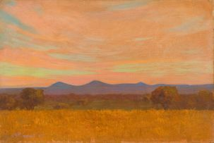 Jacob Hendrik Pierneef; Landscape with Golden Veld and Blue Mountains