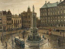 Tinus de Jongh; Dam Square, Amsterdam