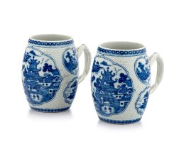 A pair of Chinese Export blue and white tankards, Qing Dynasty, Qianlong period, late 18th century