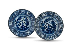 A pair of Japanese Arita blue and white dishes, 18th century