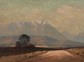 Willem Hermanus Coetzer; Landscape with Snow Capped Mountains