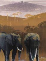 Keith Joubert; Mount Kilimanjaro with Elephants