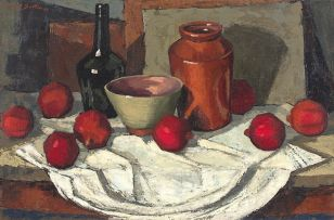 David Botha; Still Life with Pomegranates and Vessels