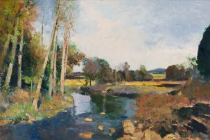 Errol Boyley; River Scene with Trees