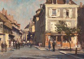 Edward Seago; Street Scene, Montereaux, France