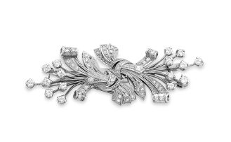 Diamond double-clip spray brooch, 1950s
