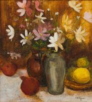 M Holtzhausen; Still Life with Cosmos and Fruit