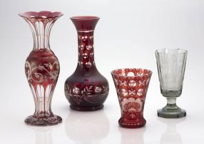 A Bohemian ruby-flashed beaker vase, late 19th century