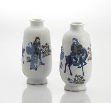 A pair of Chinese underglaze-blue and copper red vases, Qing Dynasty, late 19th/early 20th century