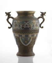 A Japanese brass and champlevé two-handled vase, 20th century