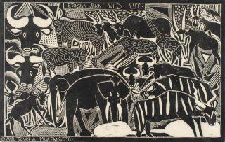 John Muafangejo; Etosha Pan Wild Life