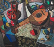 Hennie Niemann Snr; Still Life with Mandolin and Pomegranate