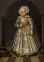 Flemish School; Portrait of a Young Girl Holding a Rattle