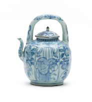 A Chinese provincial blue and white wine pot, 19th century