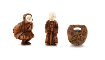 A wood and ivory netsuke of a Kyogen dancer, 19th century